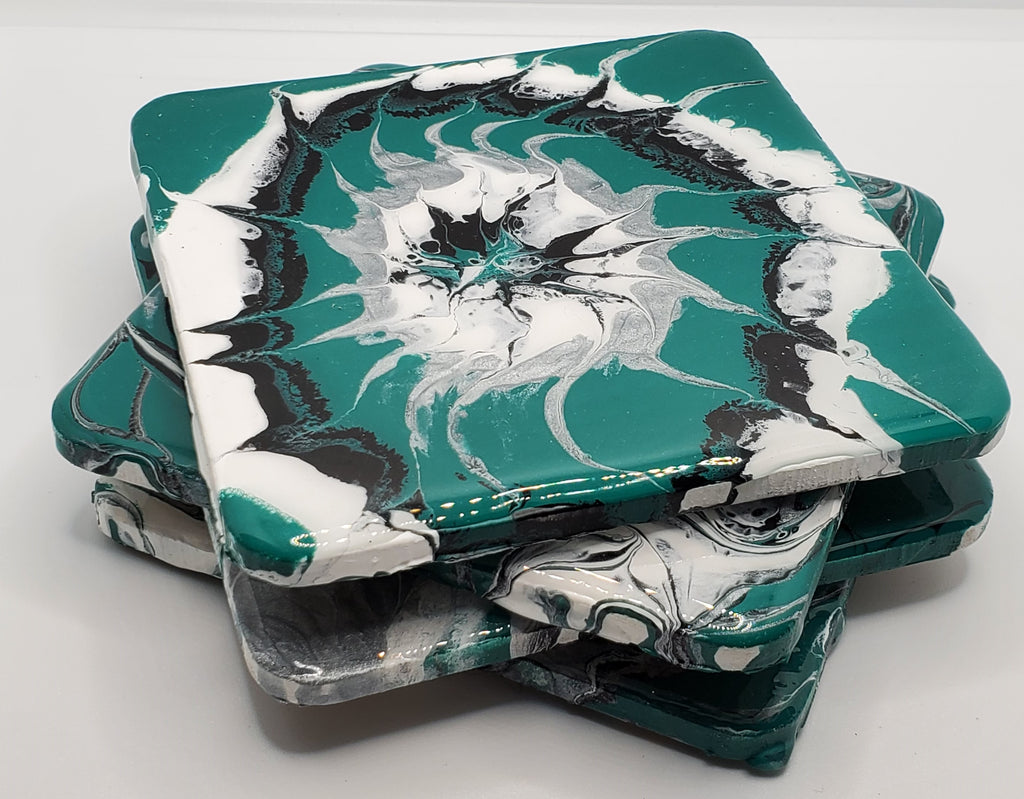 Teal, White, Black, and Silver Acrylic Poured Coasters (4 piece set)