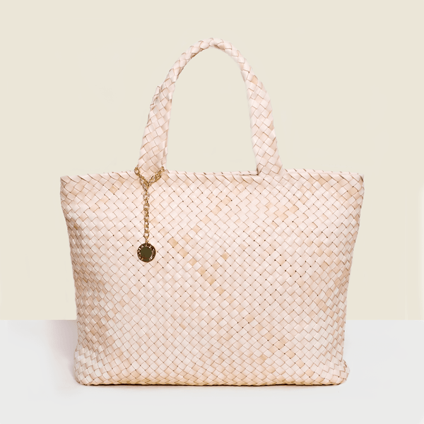 Cream shopper style woven leather luxury bag. Handmade in Italy