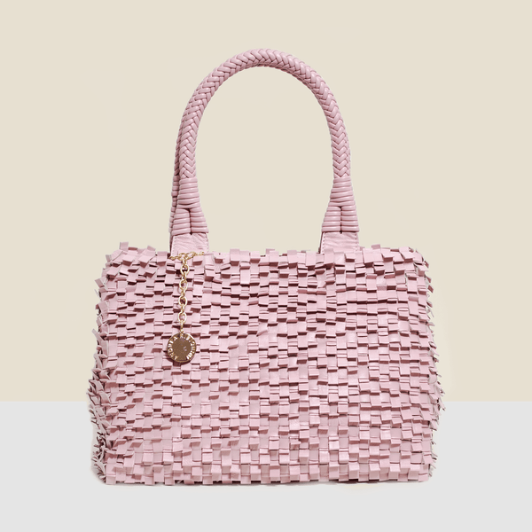 Woven leather bag in pink. Handmade in Italy