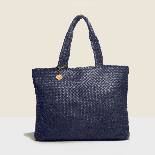 Shopper style navy blue woven leather luxury bag. Handmade in Italy