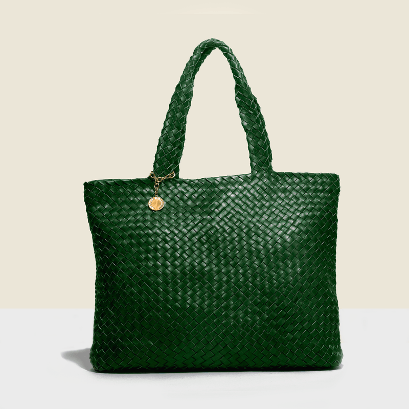 Green leather luxury bag. Handmade in Italy