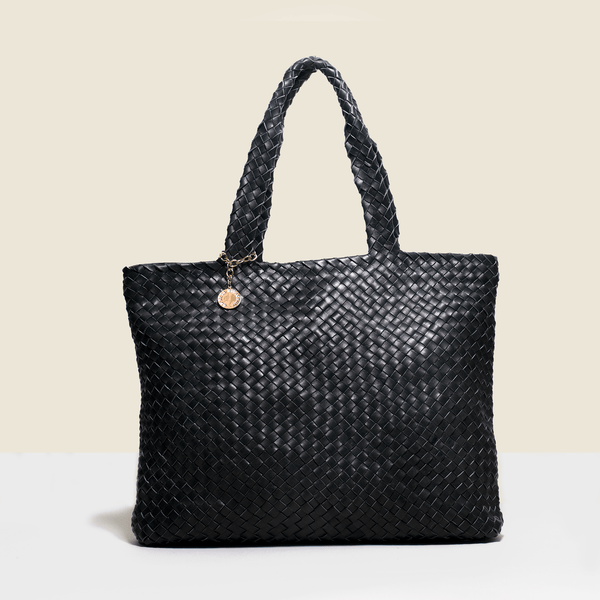 Shopper style black woven leather bag