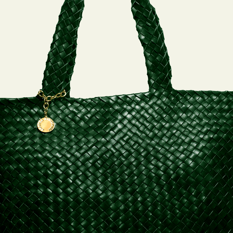 Shopper style green leather luxury bag. Handmade in Italy