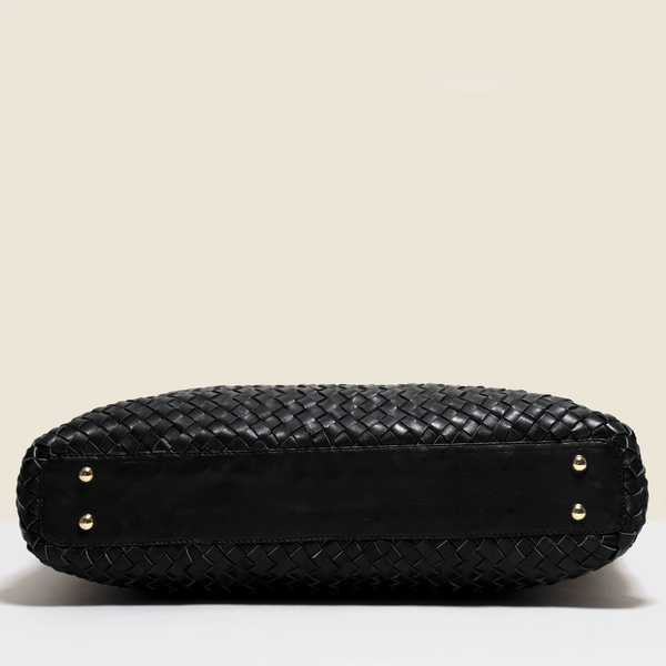 Woven leather luxury bag. Handmade in Italy