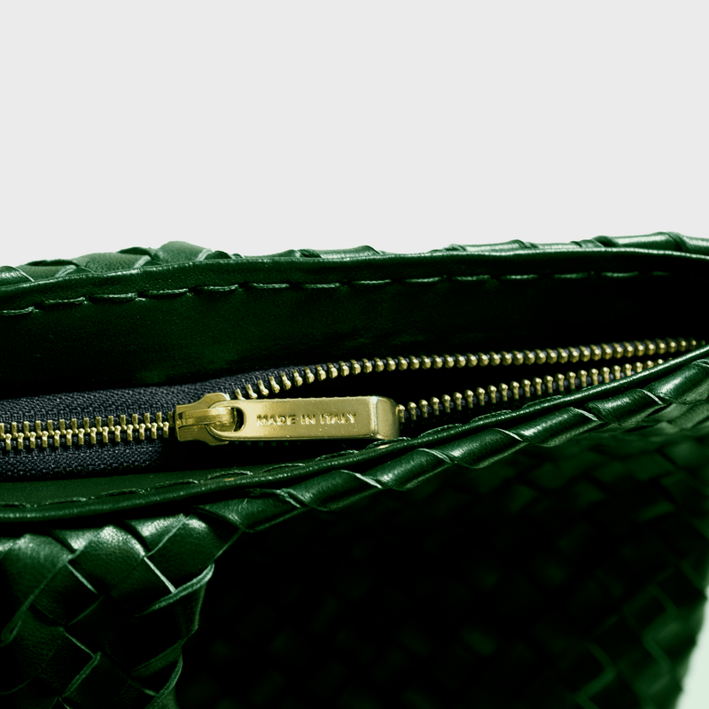 Green leather bag with zip