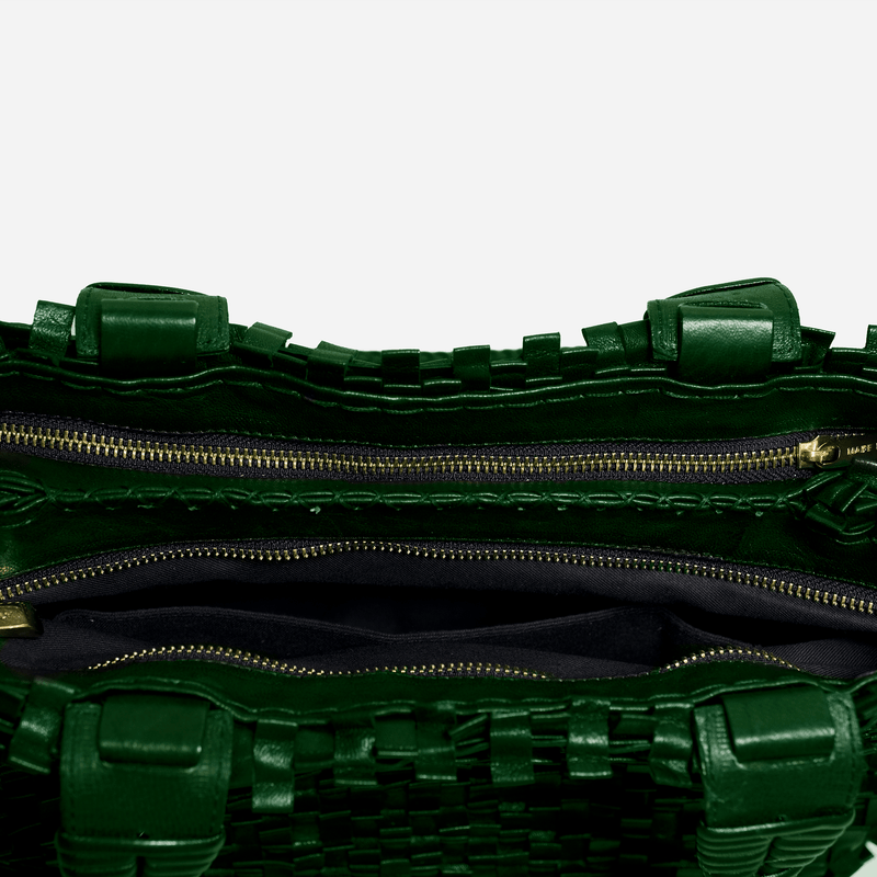 Green  woven leather bag with zip