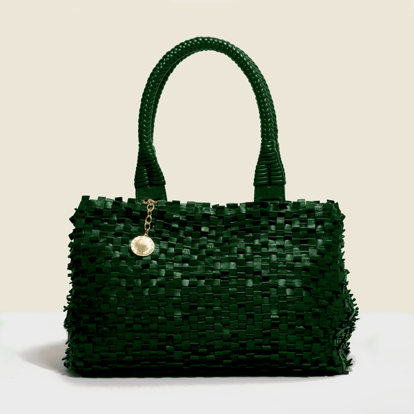 Woven leather bag - green with solid woven leather handle.Handmade in Italy