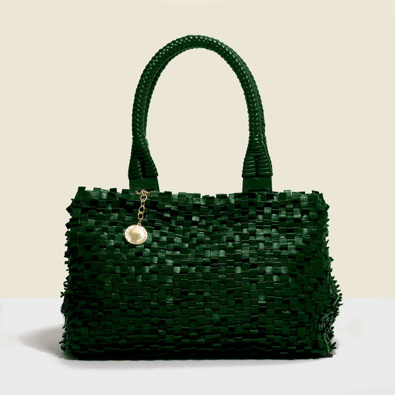 Woven leather luxury bag - green. Handmade in Italy