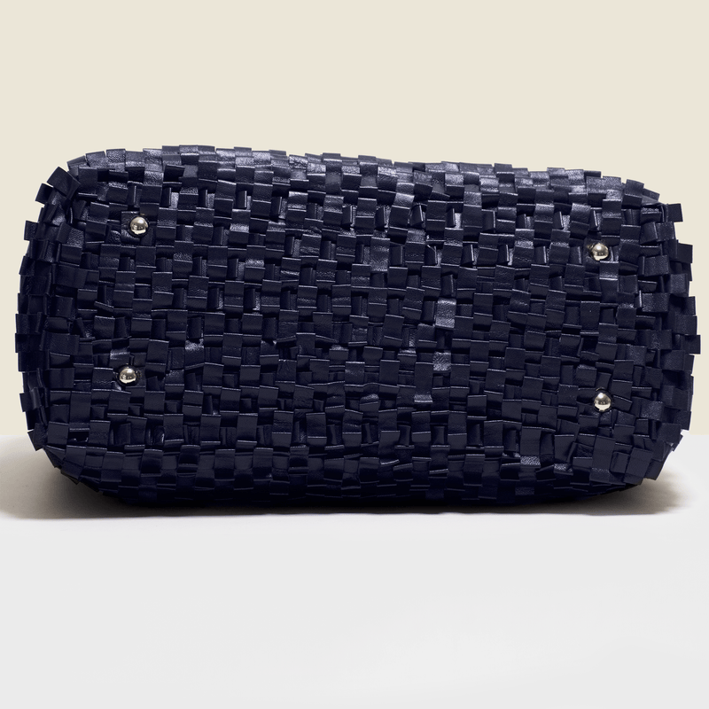 Woven leather bag. in navy blue,Handmade in Italy