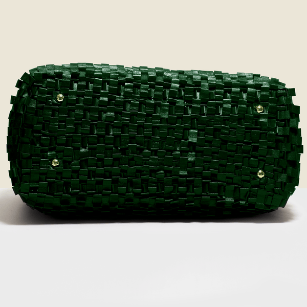 Woven leather bag in green, Handmade in Italy