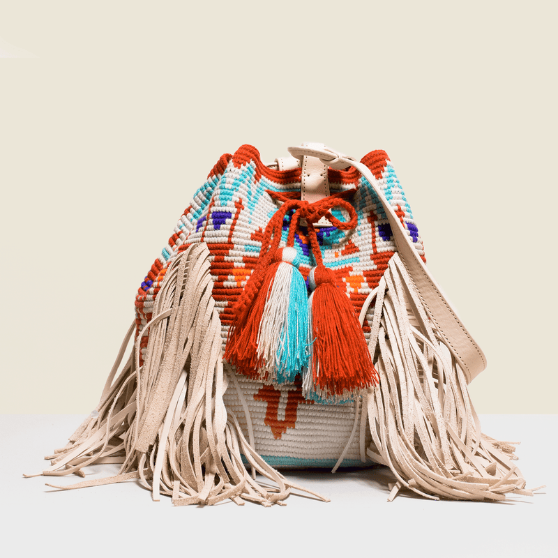 Boho chic nag bag with leather tassels