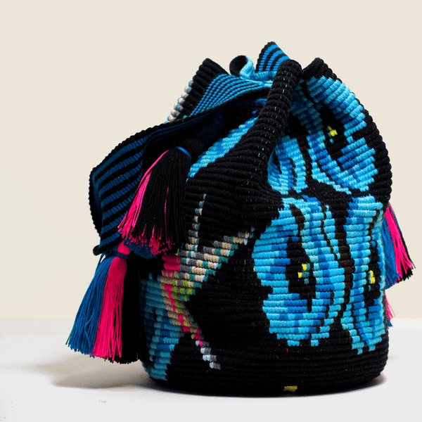 Boho Chic crochet black bag with blue flowers and pink tassels