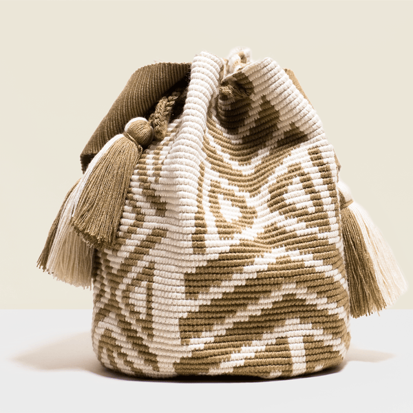 Boho chic crochet bag with brown geometrical design on cream base. Tassels to match, Washable.