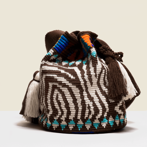 Boho chic bag. with tassels, Zebra pattern in cream and brown with bright colours near the closure