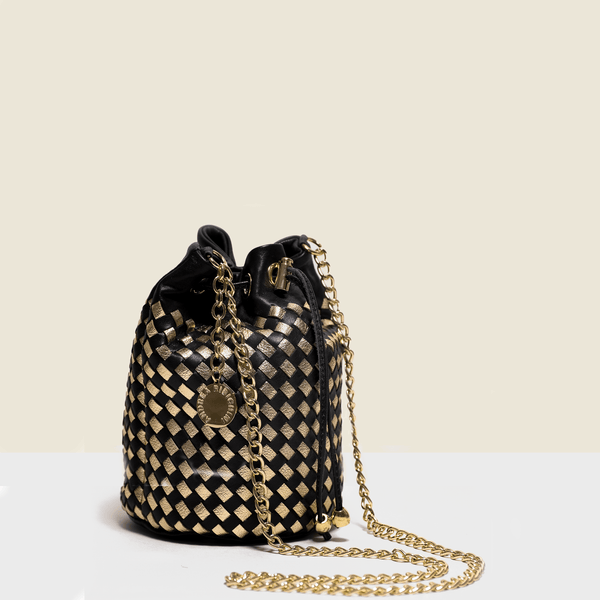 Black woven leather bag Bucket bag with chain shoulder. Handmade in Italy