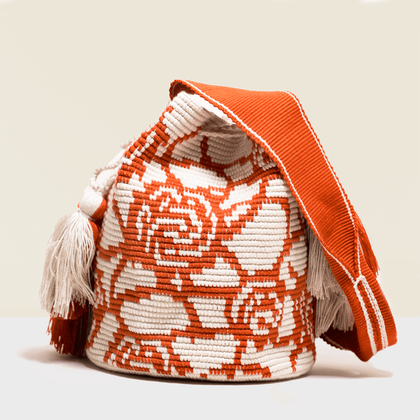 Boho  chic bag. Red roses crocheted on a white canvas. Cross - body bag