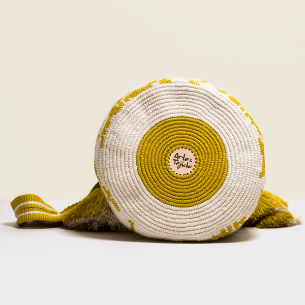 Boho chic bag in cream and saffron yellow. Cross-body bag