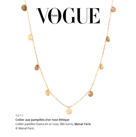 VOGUE MANAL PARIS COLLIER PASTILLES DAERA OR ROSE 18 CARATS