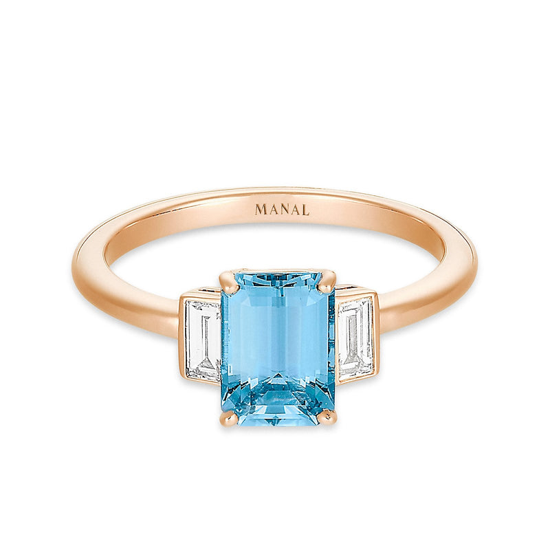 bague roma azzura aigue-marine et diamants joaillerie MANAL PARIS