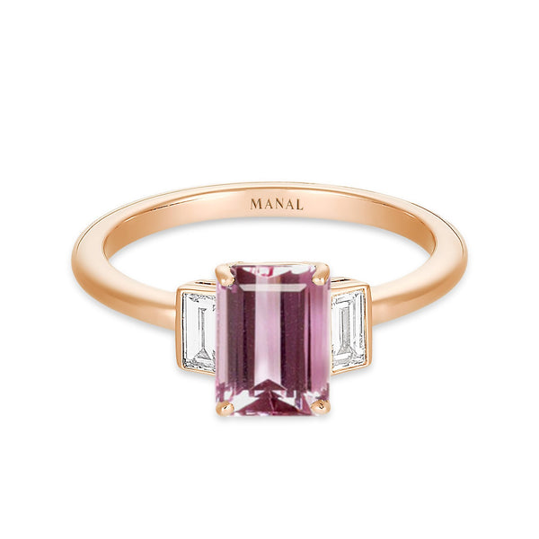 bague topaze rose diamants baguette joaillerie Manal Paris