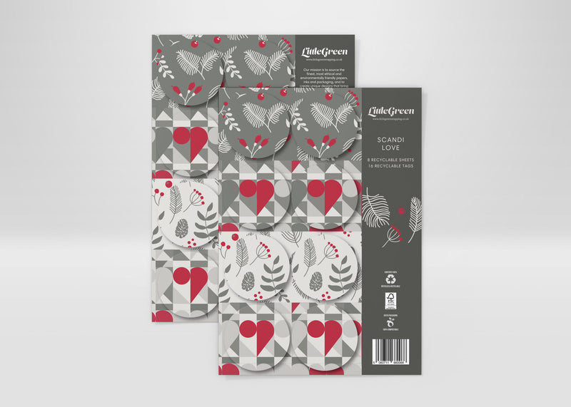 Scandi Love Recyclable Wrapping Paper & Tags