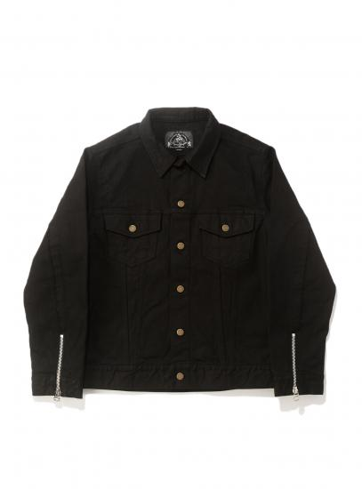 DISTRESSED DENIM TRUCKER JACKET(BLACK)