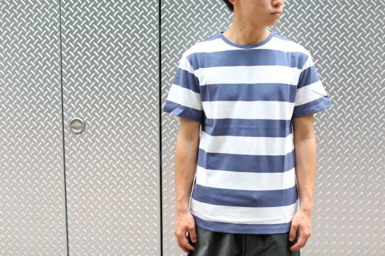 H.S Crew Printed Border T(WHITE×NAVY)