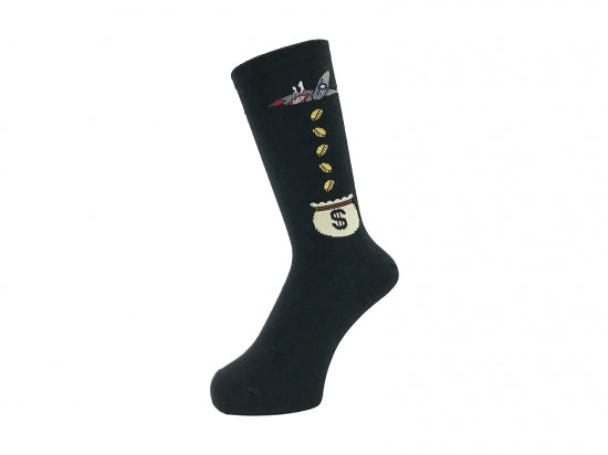 WHIMSY SOCKS 32/1 MONEY RAIDERS SOCKS(BLACK)