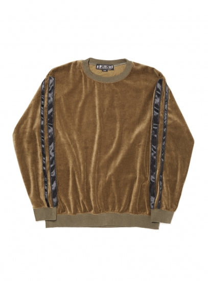 TAPED VELOUR CREWNECK(OLIVE)