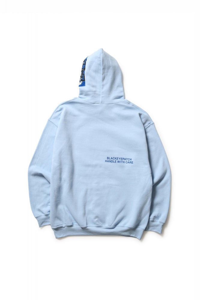 LABEL HOODED SWEATSHIRT(LIGHT BLUE)
