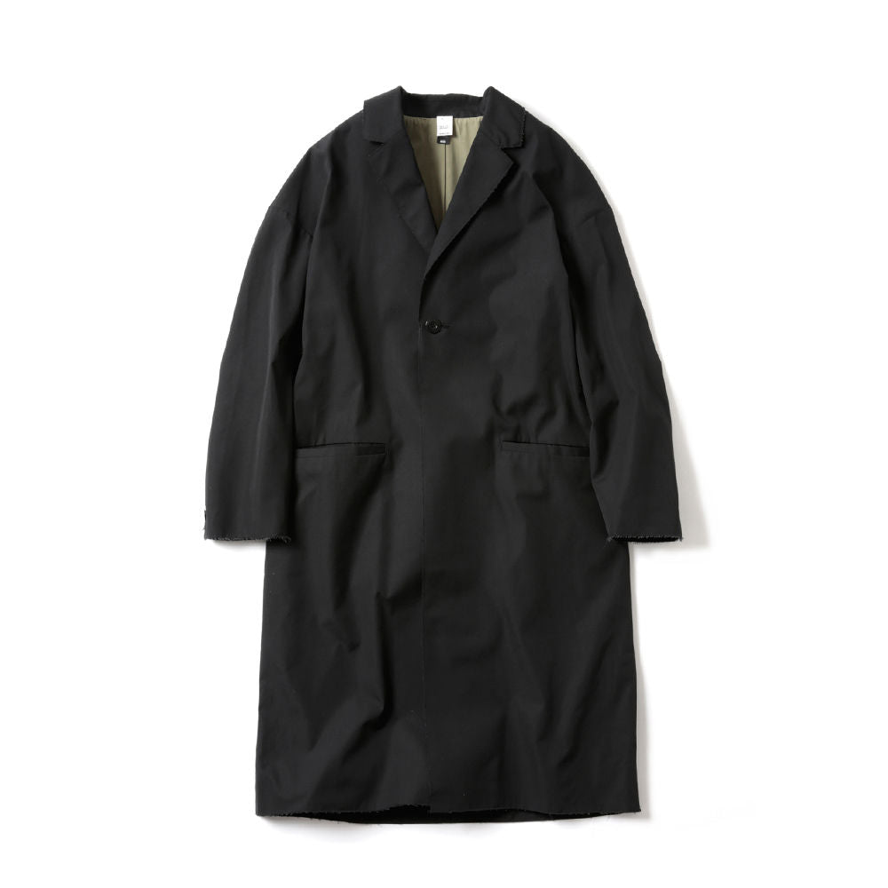 RAW EDGED CHESTER COAT(BLACK)