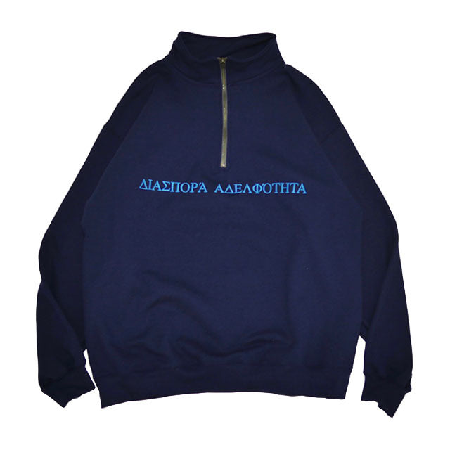 LONG LETTER HALF ZIP SWEAT (NAVY)