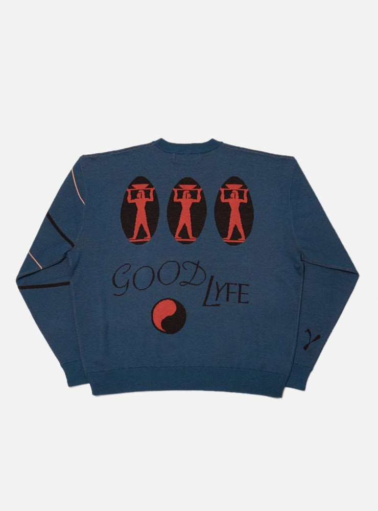 GOOD LIFE JACQUARD COTTON CREWNECK KNIT(STEEL)