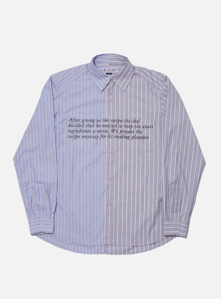 RECIPE & ENIGMA PRINTED DRESS SHIRT(BLUE)