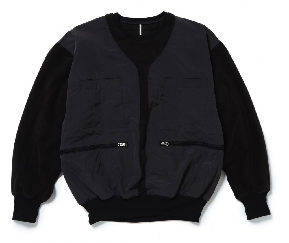 VEST ON THE FLEECE SWEAT(BLACK)