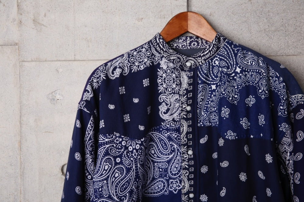 VINTAGE BANDANA PATCHWORK SHIRT(NAVY-1) -CHILDREN OF THE DISCORDANCE