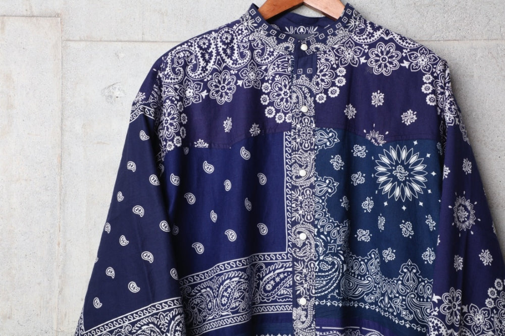 VINTAGE BANDANA PATCHWORK SHIRT LS(NAVY) -CHILDREN OF THE DISCORDANCE