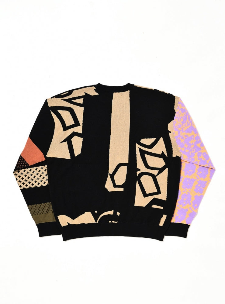 JACQUARD OVERSIZED CREWNECK KNIT(BLACK) -BAL