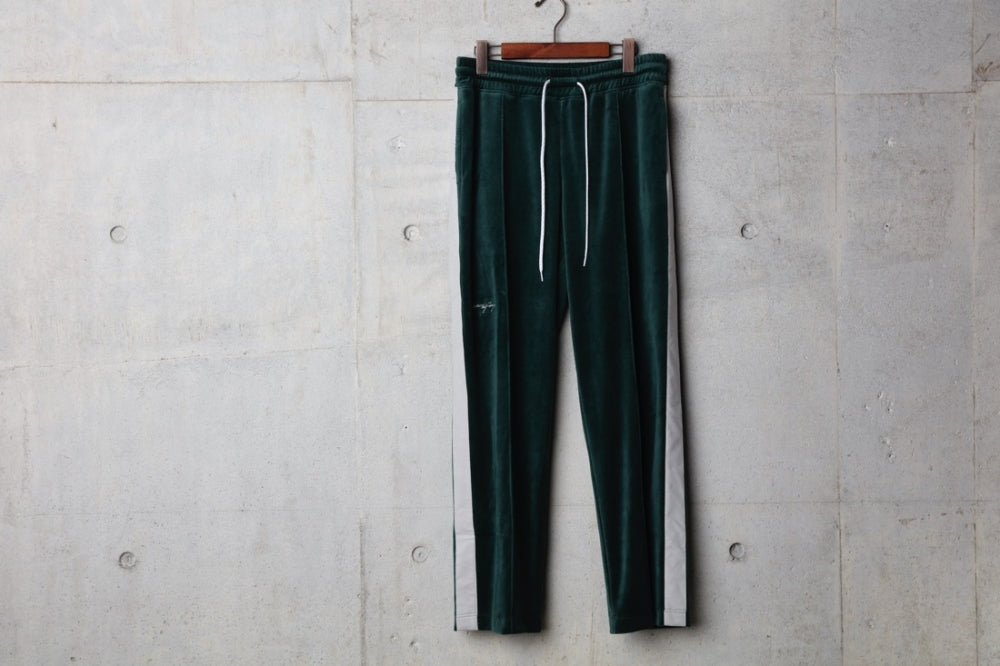 POF EMBROIDERY VELOUR PANT(GREEN/GRAY) -PIECE OF FLAGS