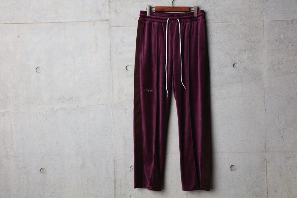 POF EMBROIDERY VELOUR PANT(PURPLE/BROWN) -PIECE OF FLAGS