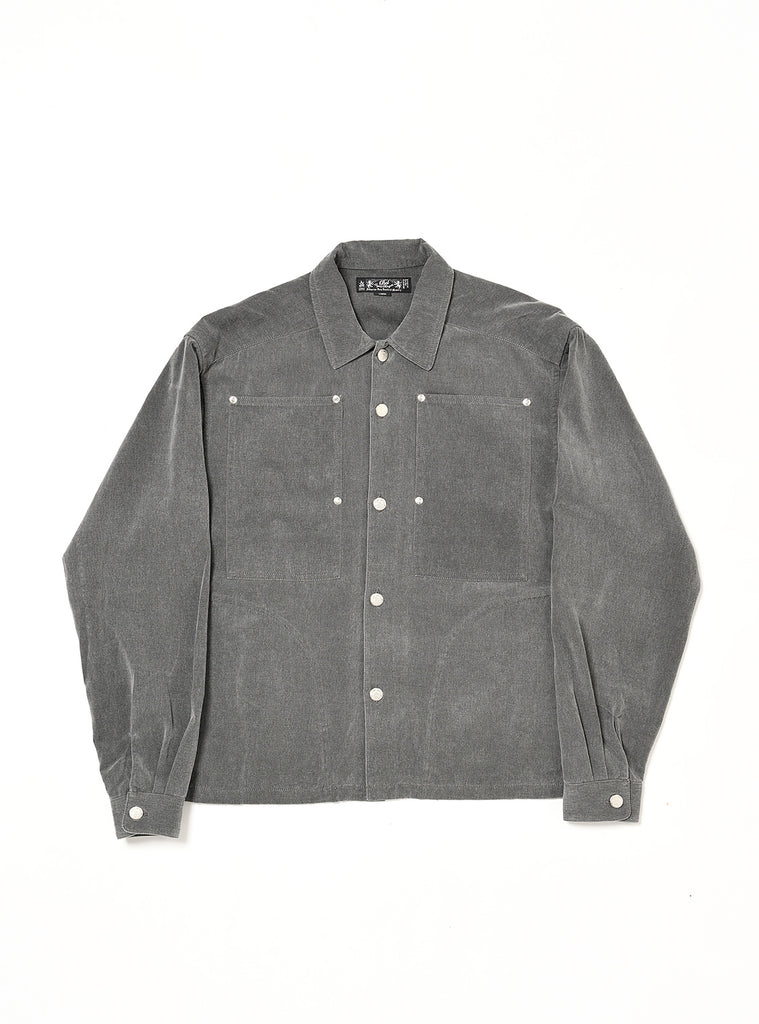 WASHED FLANNEL WORK SHIRT(CHARCOAL) -BAL