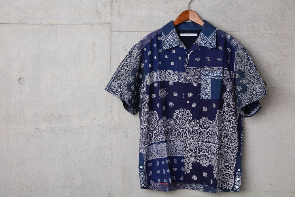 VINTAGE BANDANA PATCHWORK SHIRT SS(NAVY) -Children Of The Discordance
