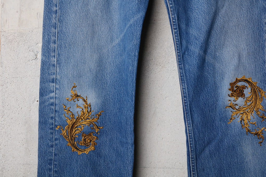 VINTAGE EMBROIDERY DENIM PANTS E(BLUE) -Children of  the discordance