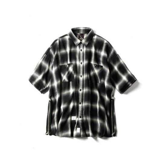 "LAID BACK CHILLIN SHIRTS ""CUBE""(BLACK × GRAY) -MAGIC STICK- 15SS"