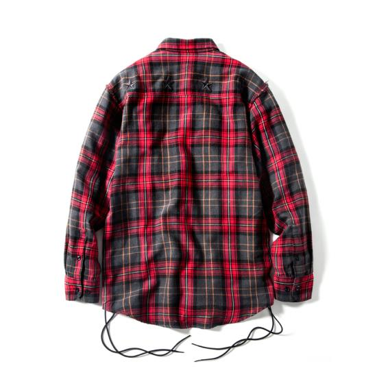 OVER SIZE LACE UP NEL(RED CHECK) -MAGIC STICK- 15FW