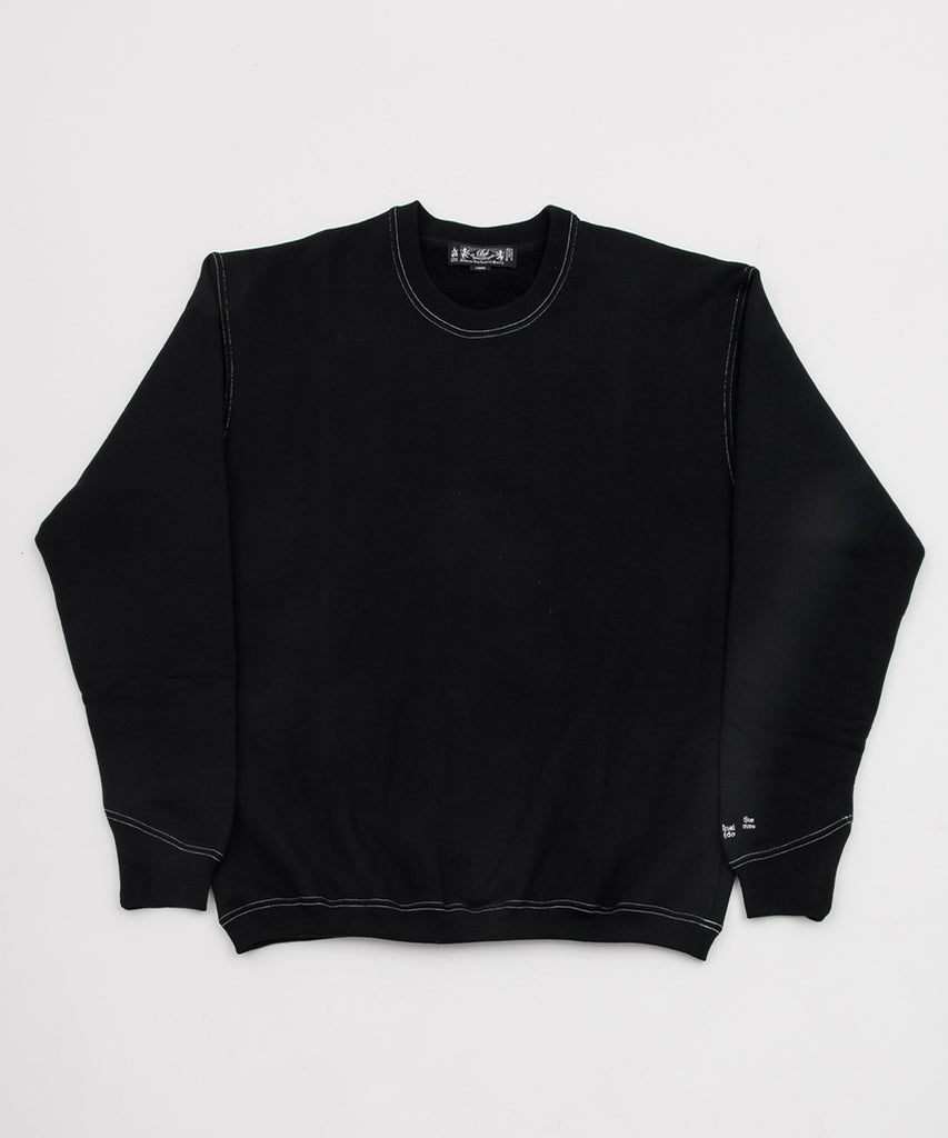 CONTRAST STITCH CREW SWEAT SHIRT(BLACK) -BAL