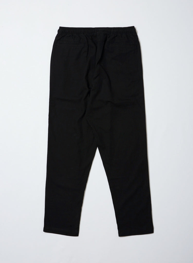 WASHED FLANNEL ELASTIC WAIST TROUSER(Black) -BAL