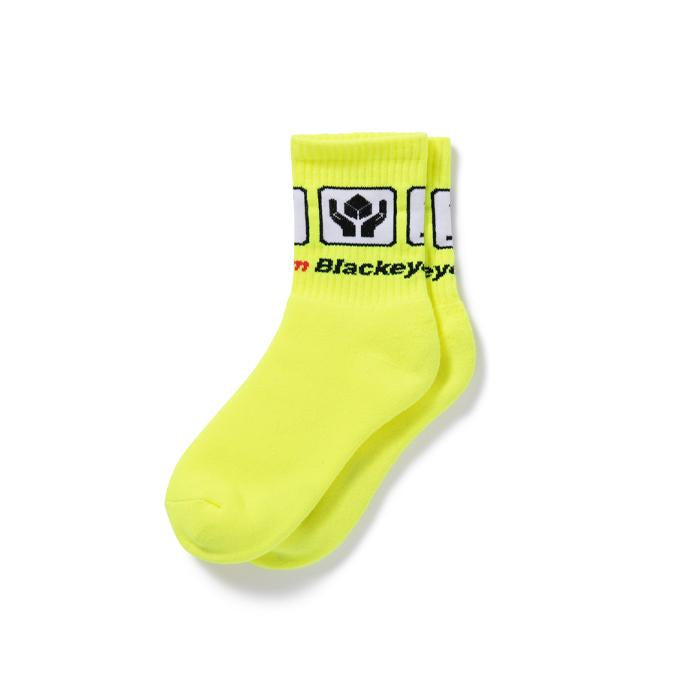 HANDLE WITH CARE SOCKS(YELLOW) -BLACK EYE PATCH