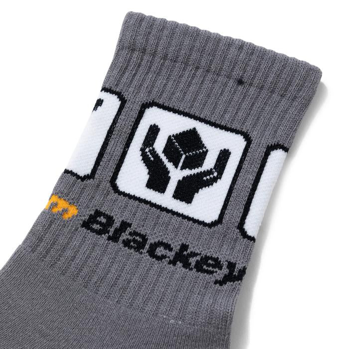 HANDLE WITH CARE SOCKS(GRAY) -BLACK EYE PATCH