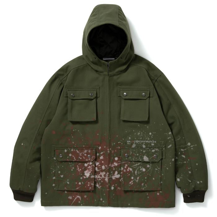 HOODED PAINTER JACKET(OLIVE) -BLACK EYE PATCH